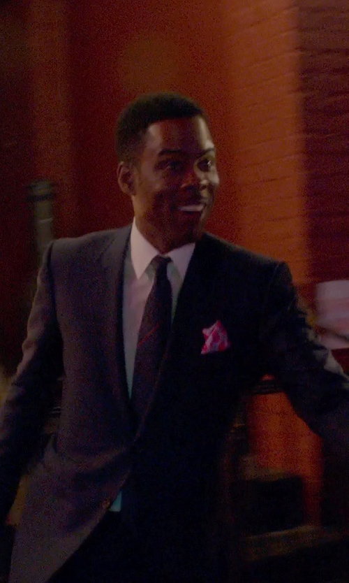 Chris Rock with Canali Micro Floral Dot Silk Pocket Square in Top Five