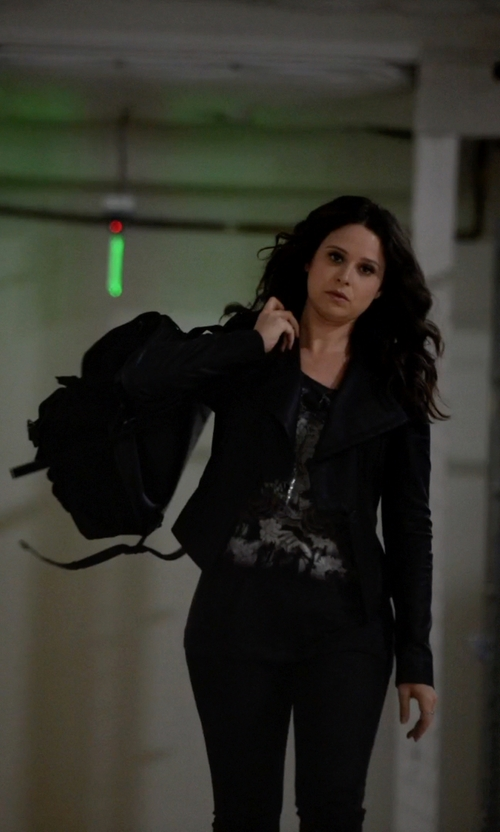 Katie Lowes with Proenza Schouler PS1 Large Double-Pocket Backpack in Scandal