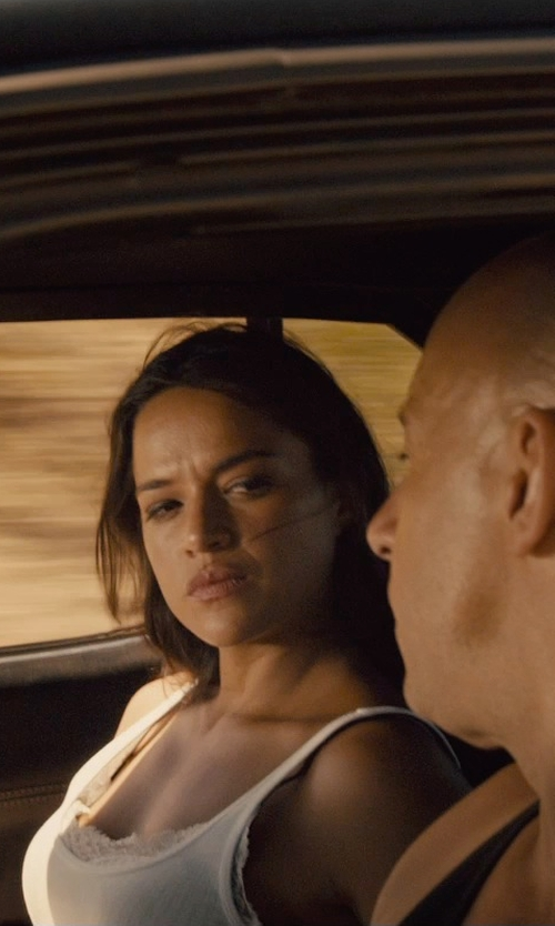 Michelle Rodriguez with Alpha Studio Tank Top in Furious 7
