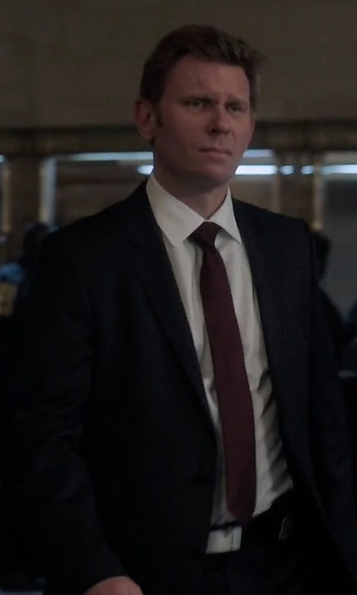 Mark Pellegrino with Hart Schaffner Marx 'New York' Classic Fit Stripe Wool Suit in Quantico