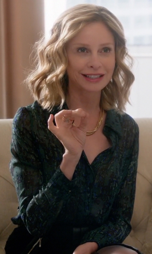 Calista Flockhart with Jason Wu Abstract Print Silk Georgette Blouse in Supergirl