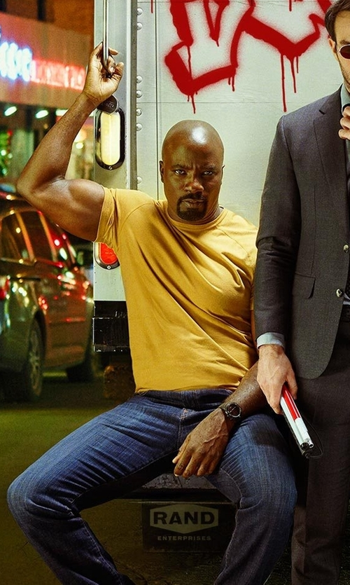 Mike Colter with Maiden Noir Natural Dyed Block Tee in Marvel's The Defenders