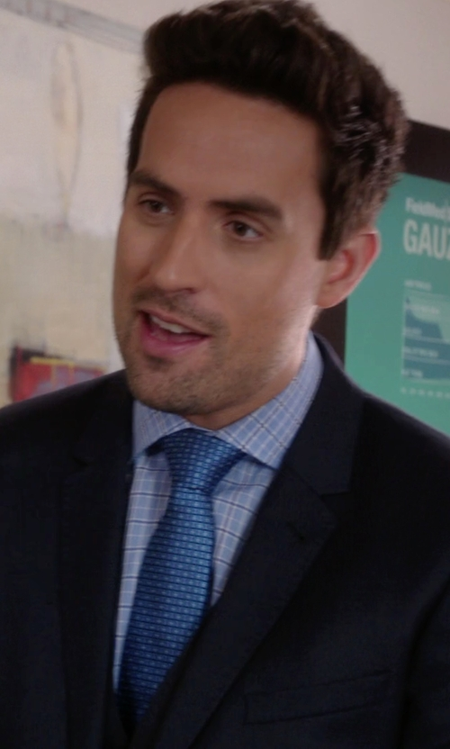 Ed Weeks with Michael Michael Kors Blue Pearl Grid Check Dress Shirt in The Mindy Project