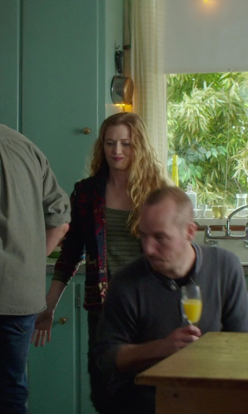 Mireille Enos with Loft Lou & Grey Heatherstripe Layering Shirt in If I Stay