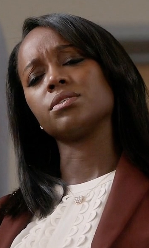 Aja Naomi King with Peggy Li Woven Gems Necklace in How To Get Away With Murder