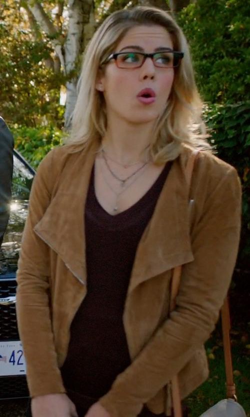 Emily Bett Rickards with Rag & Bone Marie Lurex Knit V Neck Sweater in Arrow