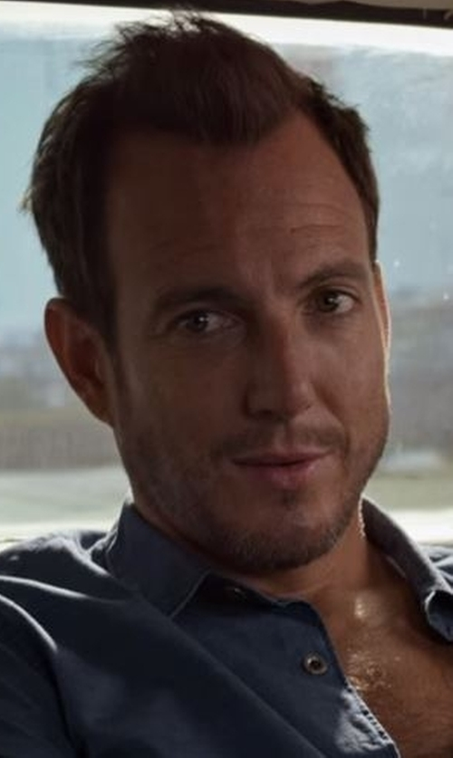Will Arnett with Billy Reid Murphy Long-Sleeve Sport Shirt in Flaked
