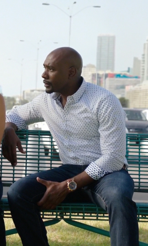 Morris Chestnut with Shinola Runwell Chronograph Watch in Rosewood