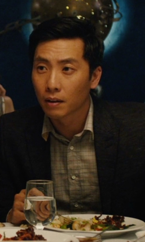 Kelvin Yu with J. McLaughlin Check Carnegie Button Down Regular Fit Shirt in Master of None