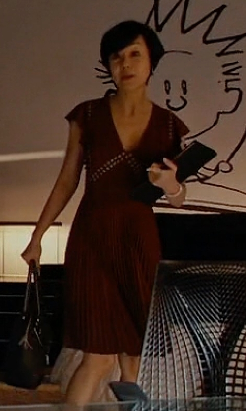 Yunjin Kim with A.L.C. Crepe Mara Dress in Mistresses
