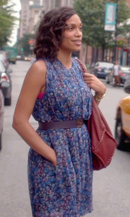 Rosario Dawson with Zac Posen Floral Print V-Neck Dress in Top Five