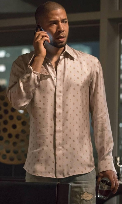 Jussie Smollett with Billy Reid Stitch-Pattern Button-Front Shirt in Empire