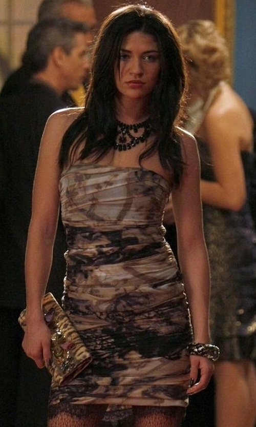 Jessica Szohr with Diane Von Furstenberg Lele Printed Chiffon Dress in Gossip Girl