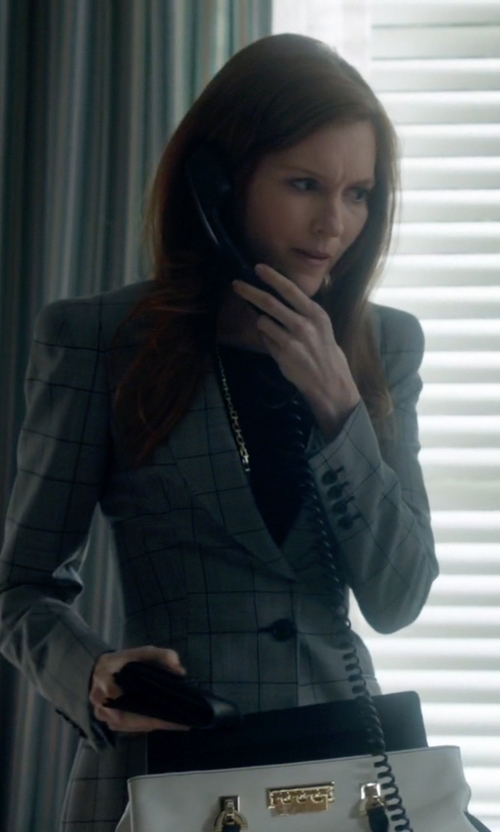 Darby Stanchfield with Temperley London Millie Prince of Wales Check Wool and Mohair-Blend Blazer in Scandal