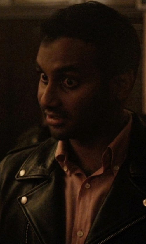 Aziz Ansari with Saint Laurent Classic Motorcycle Jacket in Master of None