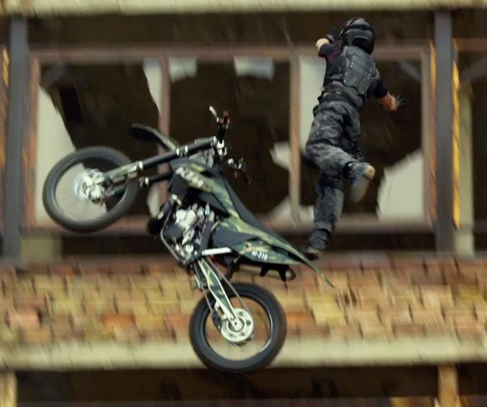 Kellan Lutz with Kawasaki KLX 140L in The Expendables 3