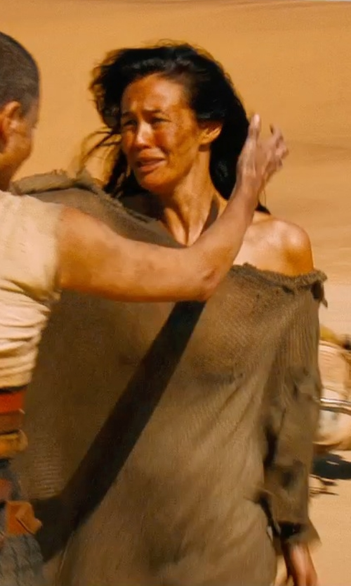 Megan Gale with Jenny Beavan (Costume Designer) Custom Made Off Shoulder Distressed Dress (Valkyrie) in Mad Max: Fury Road