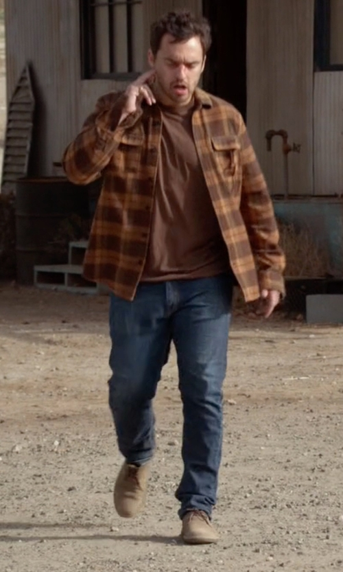Jake Johnson with Cole Haan 'Great Jones' Buck Shoes in New Girl