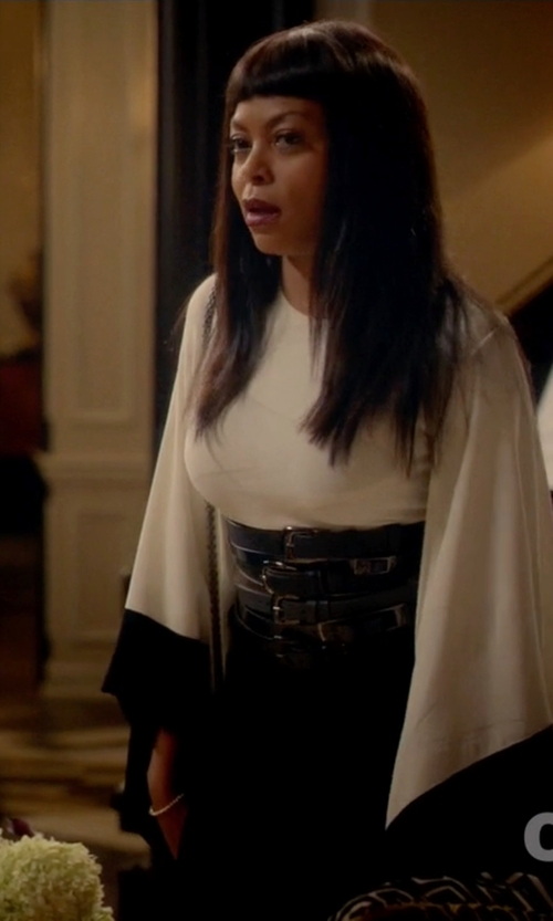 Taraji P. Henson with Maison Margiela Stacked Multi Leather Belt in Empire