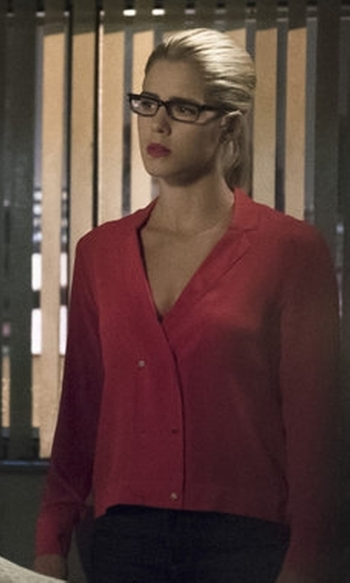 Emily Bett Rickards with The Kooples Silk Crepe de Chine Shirt in Arrow