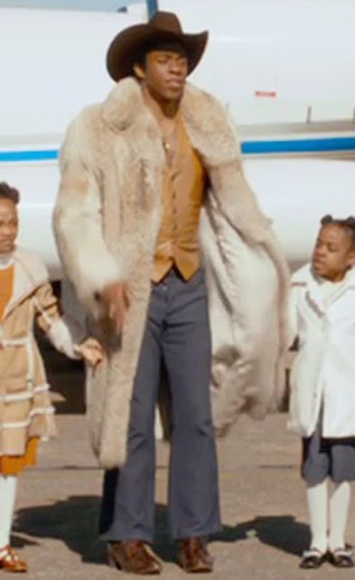 Chadwick Boseman with Marc Jacobs Harvey Twill Suit Pants in Get On Up