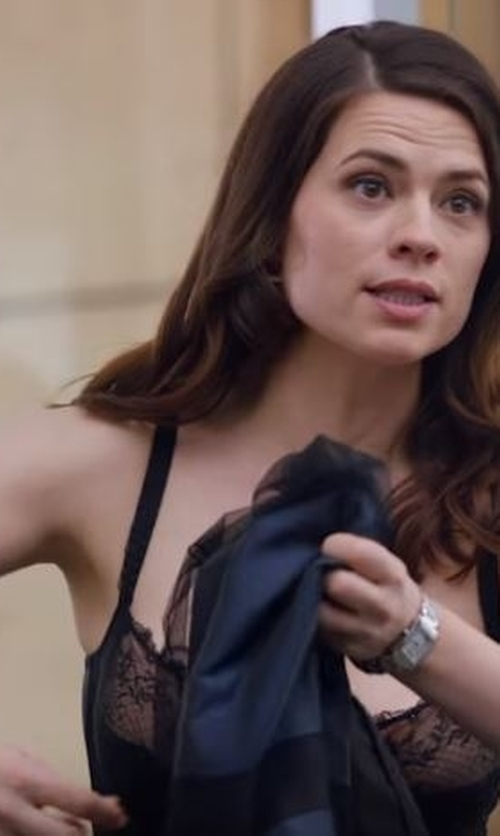 Hayley Atwell with Dolce & Gabbana Lace-Trimmed Silk-Blend Chiffon Camisole in Conviction