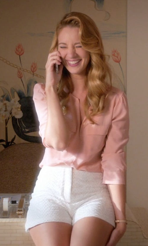 Yael Grobglas with Lafayette 148 New York Pasha Long-Sleeve Button-Front Silk Blouse in Jane the Virgin