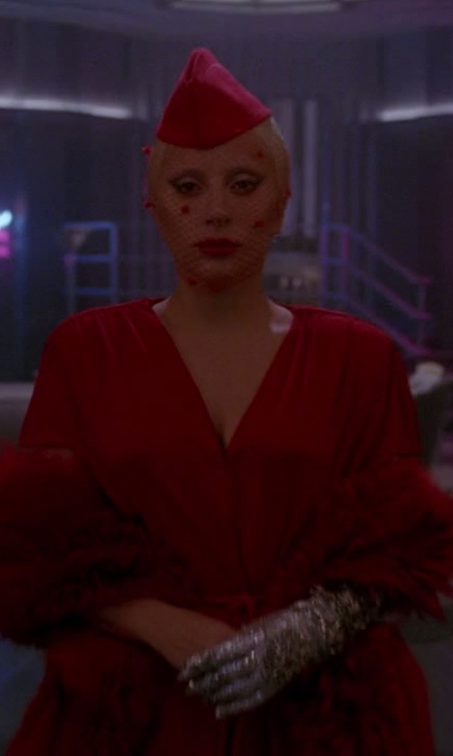 Lady Gaga with Alexander Mcqueen V-Neck Dress in American Horror Story