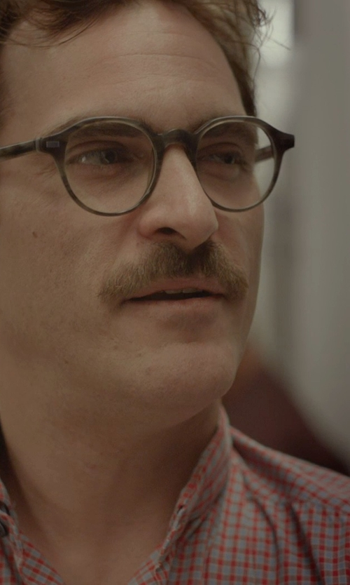 Joaquin Phoenix with Warby Parker Begley Whiskey Tortoise Glasses in Her