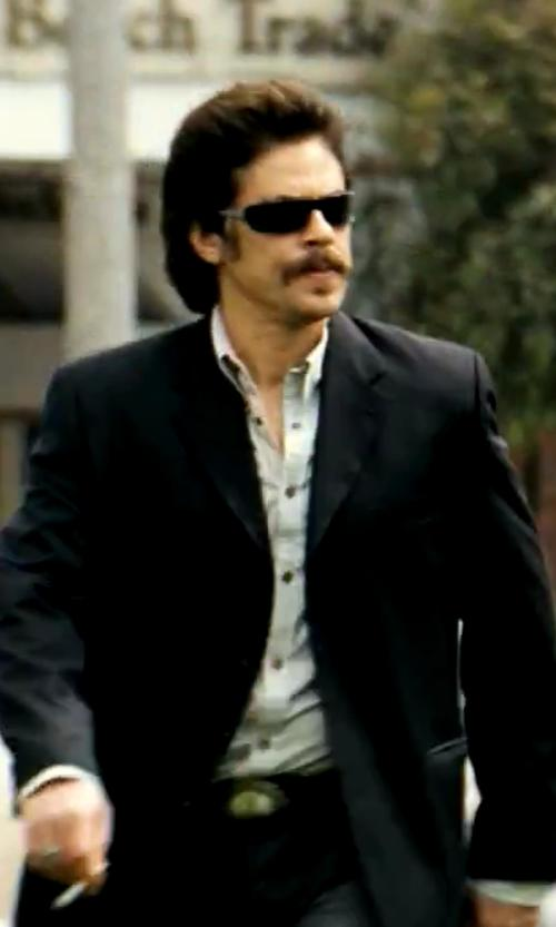 Benicio Del Toro with Calvin Klein Liquid Cotton Solid Dress Shirt in Savages