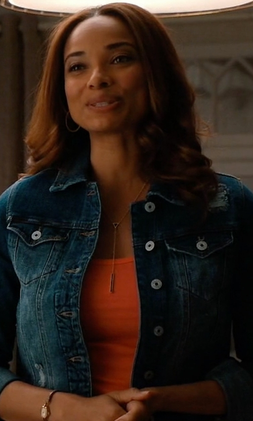 Rochelle Aytes with Eileen Fisher Denim Cropped Jacket in Mistresses
