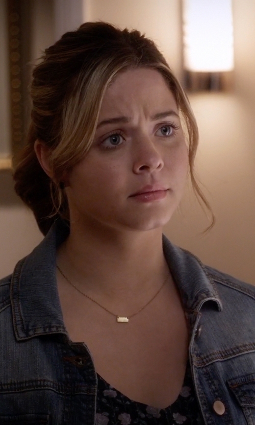 Sasha Pieterse with Lana Jewelry Mini Bar Pendant Necklace in Pretty Little Liars