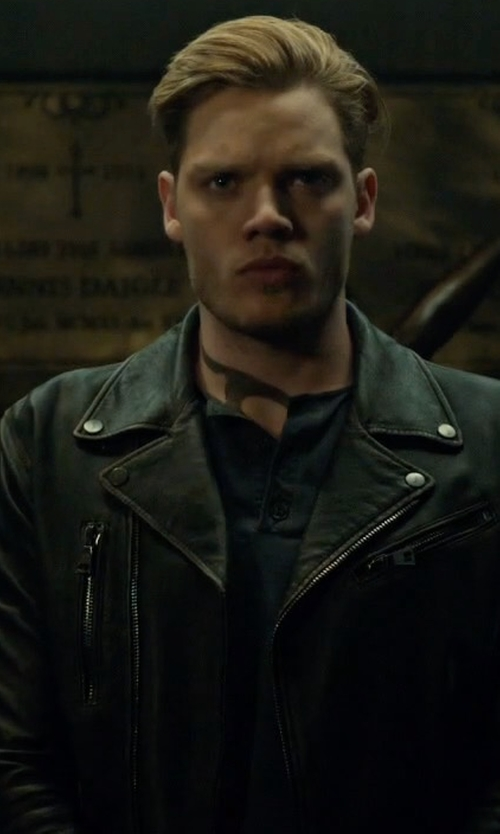 Dominic Sherwood with John Varvatos Asymmetrical Leather Biker Jacket in Shadowhunters