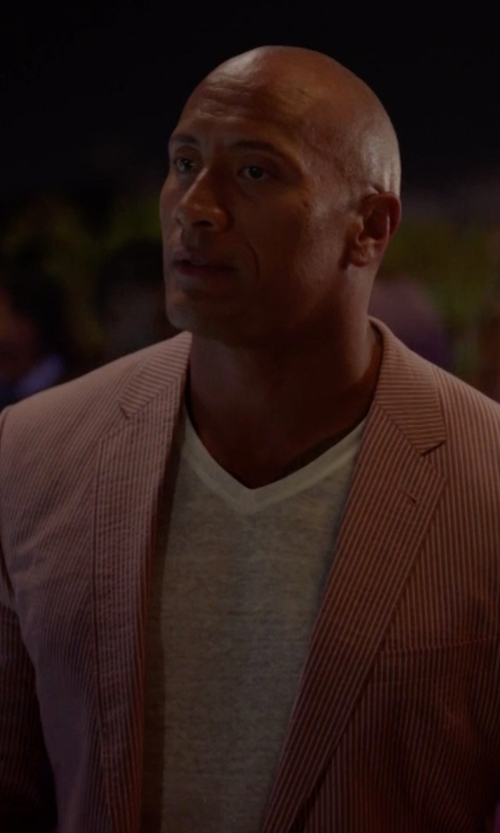 Dwayne Johnson with Peter Millar Two-Button Linen Soft Coat in Ballers