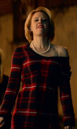 Kate McKinnon with Tommy Hilfiger Plaid V-Neck Sweater Dress in Office Christmas Party