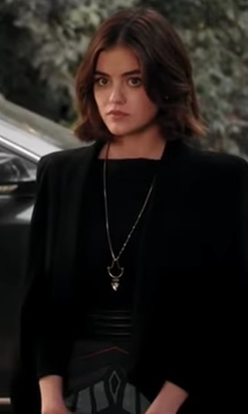 Lucy Hale with CeCe Shawl-Collar Open-Front Jacket in Pretty Little Liars
