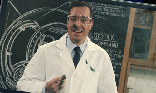 Jimmy Fallon with Landau Men's 5-Pocket Twill Lab Coat in Jurassic World