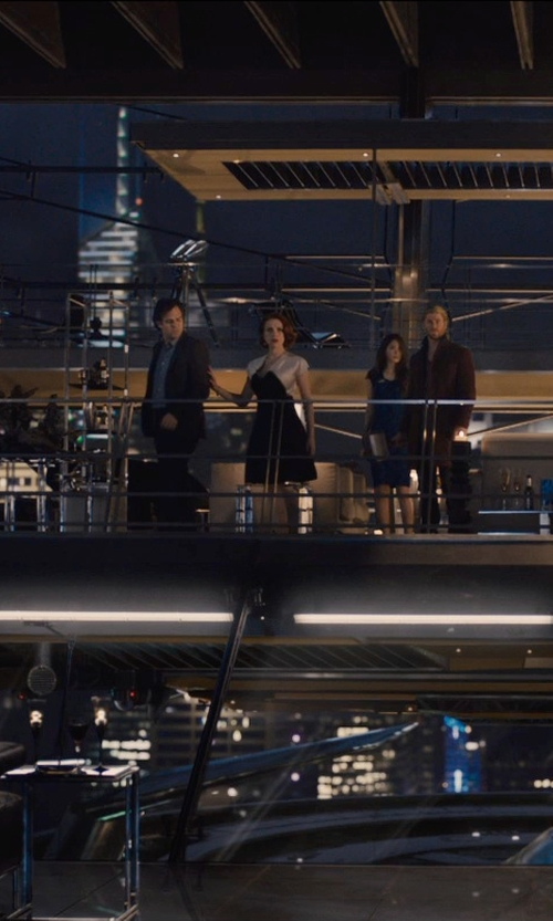 Scarlett Johansson with Grace Strapless Jacquard Dress in Avengers: Age of Ultron