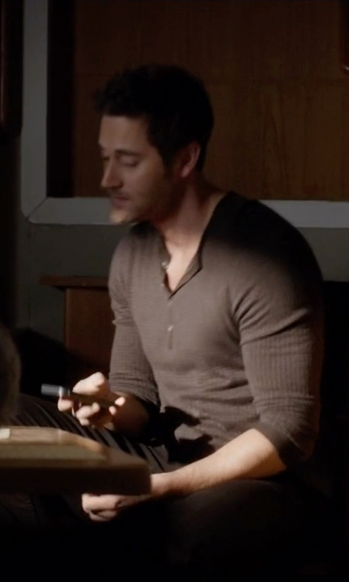 Ryan Eggold with Billy Reid  Sanders Henley Shirt in The Blacklist