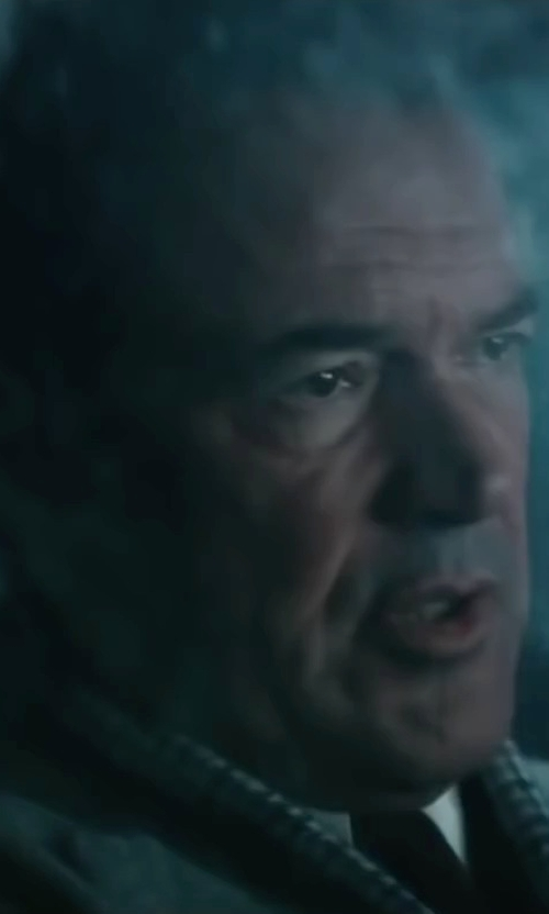 Sebastian Koch with John Varvatos Star U.S.A Men's Check Scarf in Bridge of Spies