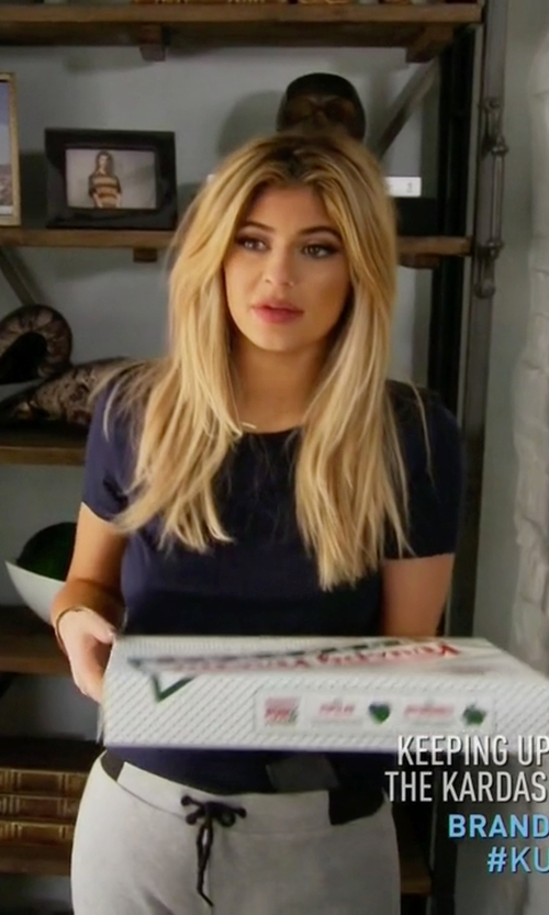 Kylie Jenner with La Perla Silver Cotton-Blend Lounge Tee in Keeping Up With The Kardashians