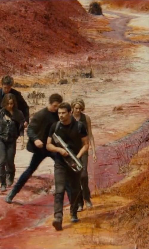 Theo James with Carlo Poggioli (Costume Designer) Custom Made 'Dauntless' Battle Uniform Pants (Four) in The Divergent Series: Allegiant