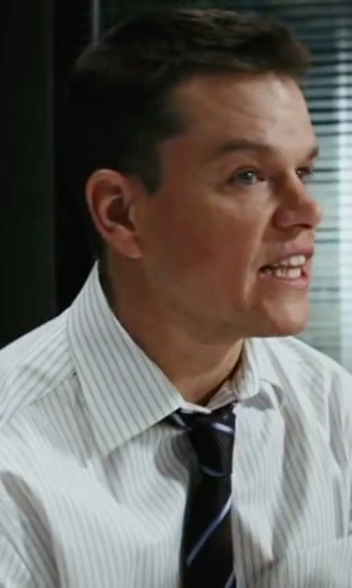 Matt Damon with Canali Stripe Dress Shirt in The Departed