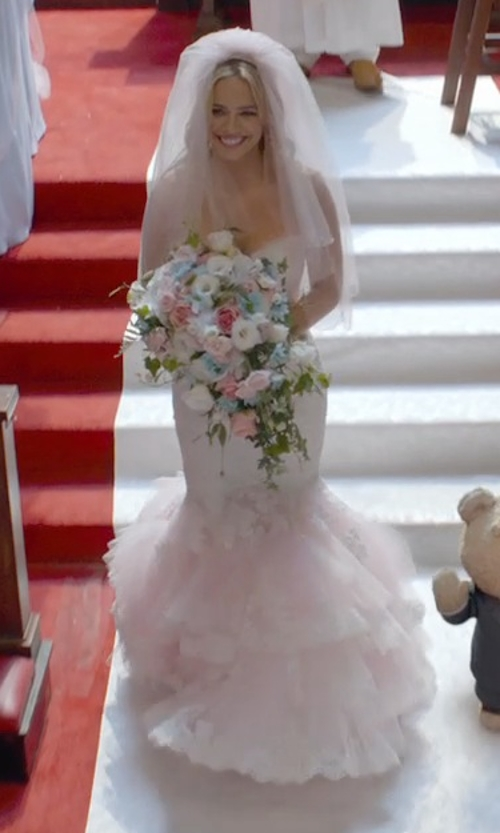 Jessica Barth with Christian Michele from Camille La Vie Lace Trumpet Wedding Dresses in Ted 2