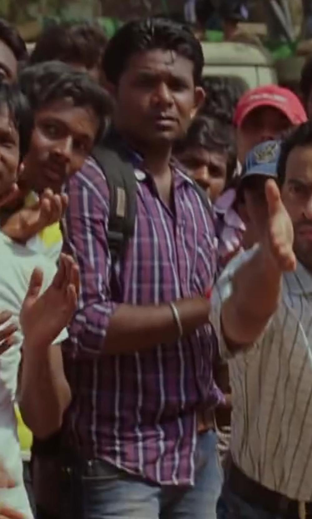 Unknown Actor with Zachary Prell Plaid Sportshirt in Million Dollar Arm