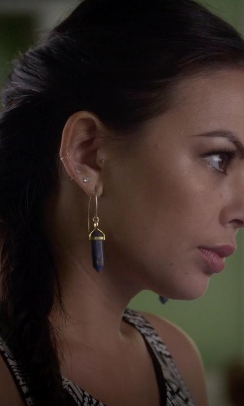 Janel Parrish with Waffles & Honey Blue Kyanite Slice Earrings in Pretty Little Liars