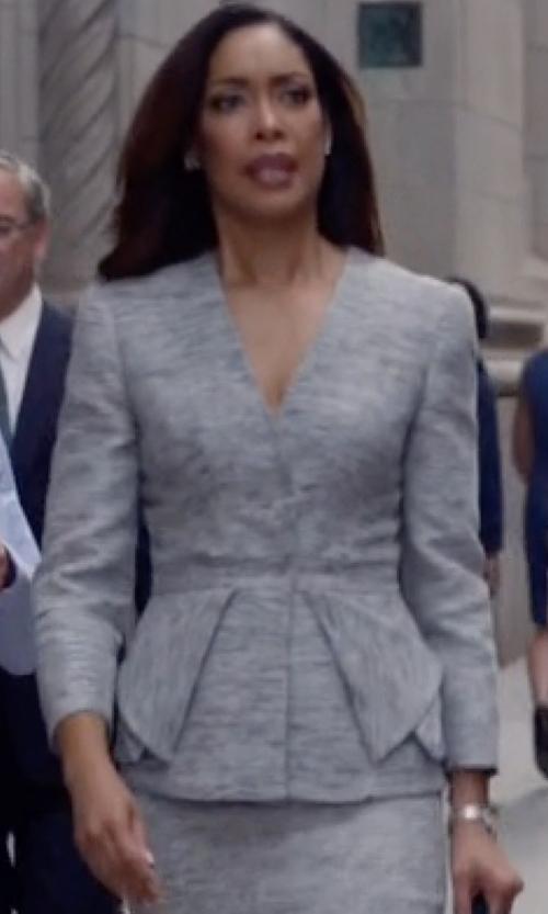 Gina Torres with Alexander McQueen Fold Peplum Jacket in Suits