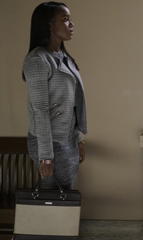 Aja Naomi King with Lauren Ralph Lauren Ashford Colorblock Satchel Bag in How To Get Away With Murder
