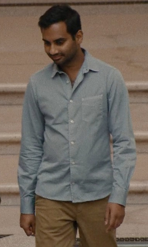 Aziz Ansari with A.P.C. Xavier Cotton-Chambray Shirt in Master of None