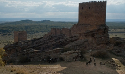 Unknown Actor with Castle of Zafra (Depicted as Tower of Joy) Guadalajara, Spain in Game of Thrones